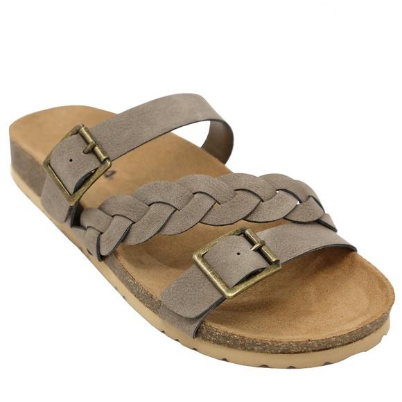 08720f0c464 Taupe Braided Strap Slip On Slide Cork Sandals NIB. Boutique. Soda